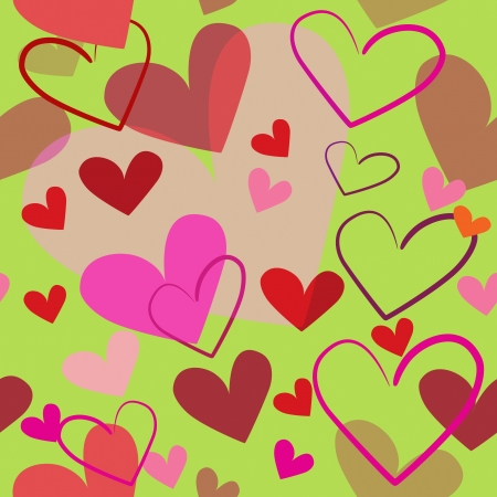 Bright red hearts seamless illustration on light green background