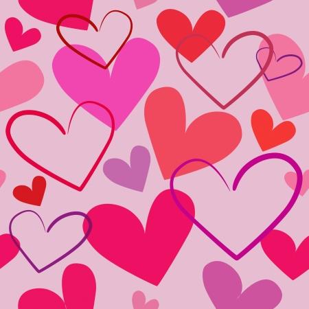 Coloridos corazones rojos ilustración inconsútil en fondo rosado