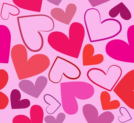 Colorful red hearts seamless vector illustration on light pink background