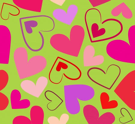 Colorful red hearts seamless illustration on bright green background