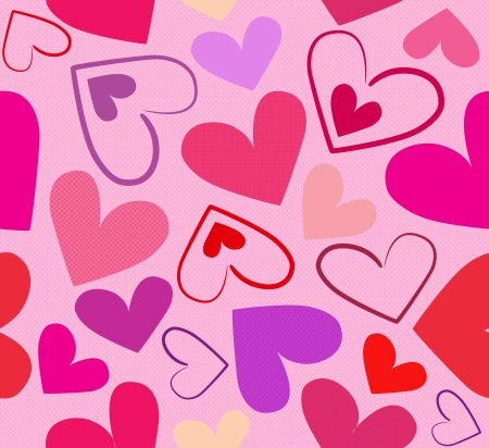 Red hearts seamless illustration on light pink background