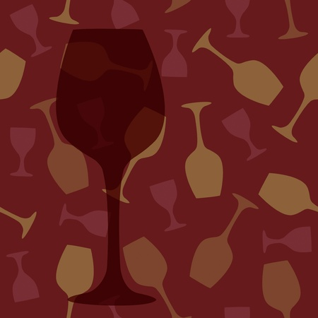 Wine glass on bar vintage seamless illustration background Vector