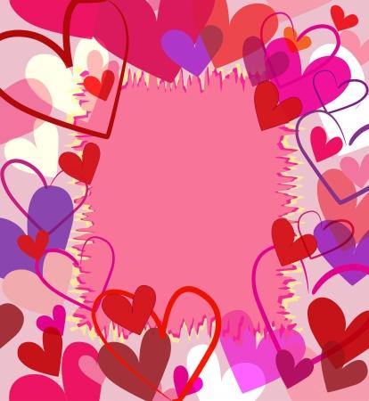 Beautiful colorful heart frame valentine vector illustration  Vettoriali