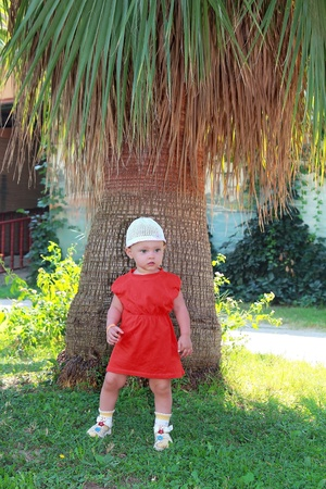 Beautiful small baby girl standing near huge palm tree on summer nature background Stock Photo - 15396900