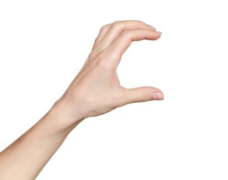 manos: Mano de la mujer tarjeta de espera, el crédito, el papel en blanco o de otro aislado en fondo blanco Mano femenina que muestra el espacio vacío para su elección