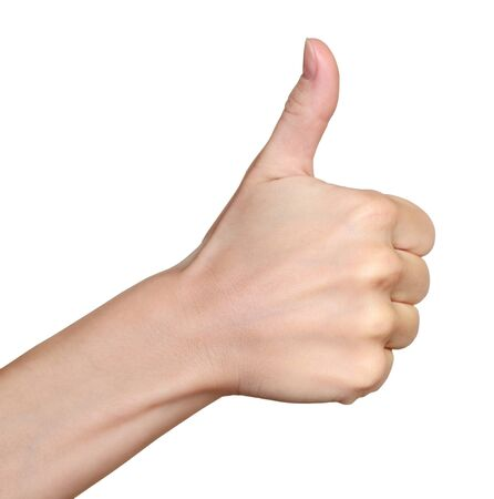 arms up: Hand with thumb up isolated on white background  Ok sign by woman