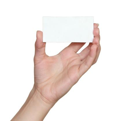 Hand gospodarstwa puste karty odizolowane na białym tle Zdjęcie Seryjne
