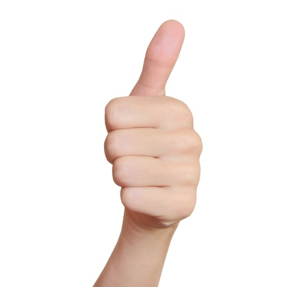 Woman hand with thumb up isolated on white background  Ok sign Stock Photo - 16242592