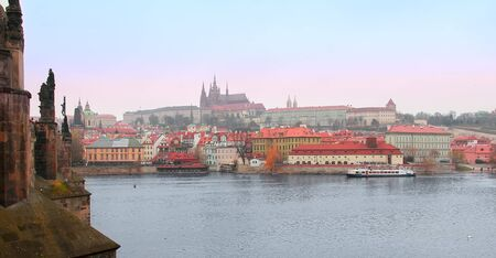 Panorama view old Praga town buildings near Charles Bridge  Czech Republic Stock Photo - 16581751