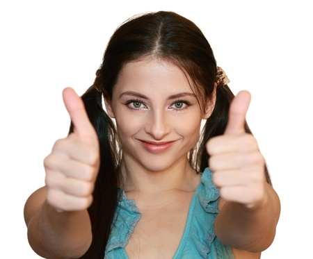 ok hand: Smiling woman with thumbs up isolated on white background