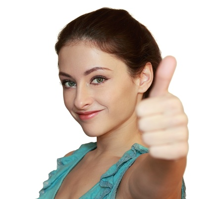 Happy smiling woman showing thumb up  Closeup isolated portrait Stock Photo - 16733010