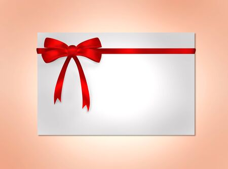 Card with red gift bows with ribbons on color background photo