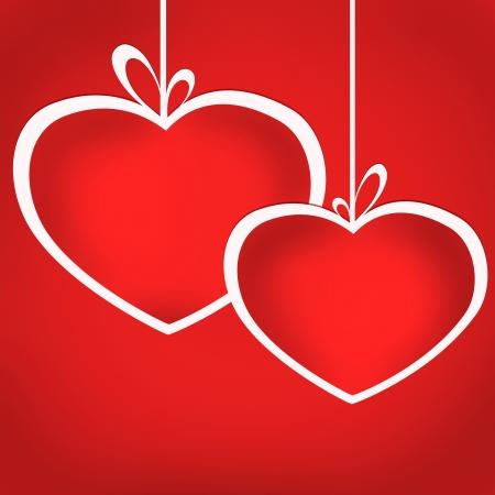 Heart balls on ribbons on red background  Card illustration illustration