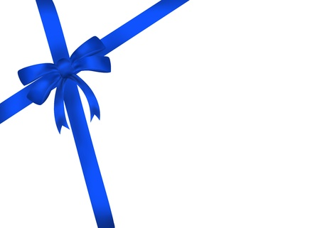 Blue gift bow with ribbon isolated on white background  Illustration illustration