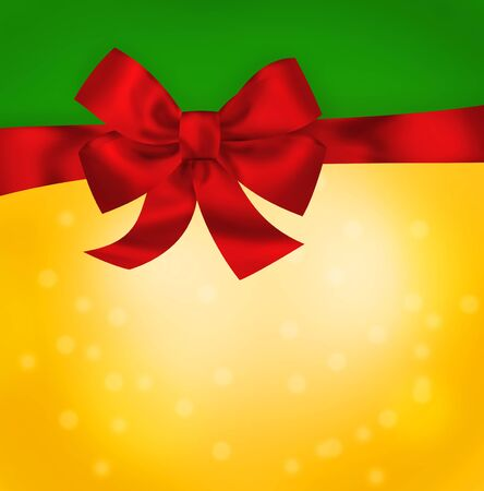 Bright red bow on green yellow background  Illustration illustration