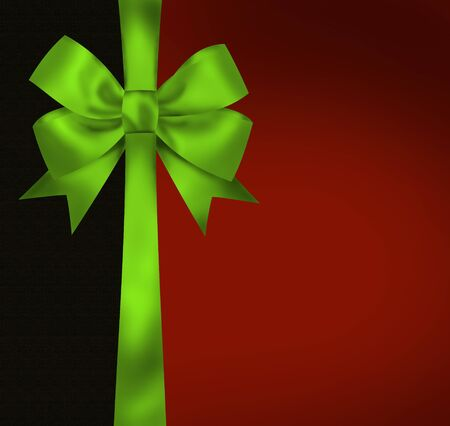 new year border: Christmas card with green bow on black red background  Illustration