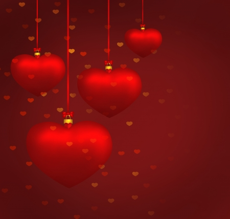 Valentine red heart balls background  Illustration illustration
