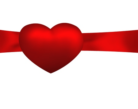 Red heart on ribbon isolated on white background  Holiday illustration illustration