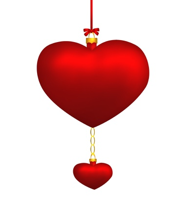 Two red hearts hanging isolated on white background  Illustration Stock Illustration - 16978052