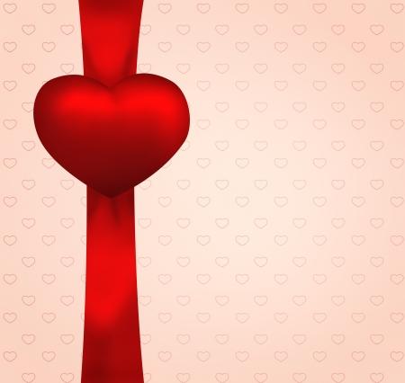 Red valentine heart on ribbon  Vintage illustration gift card Stock Illustration - 16978038