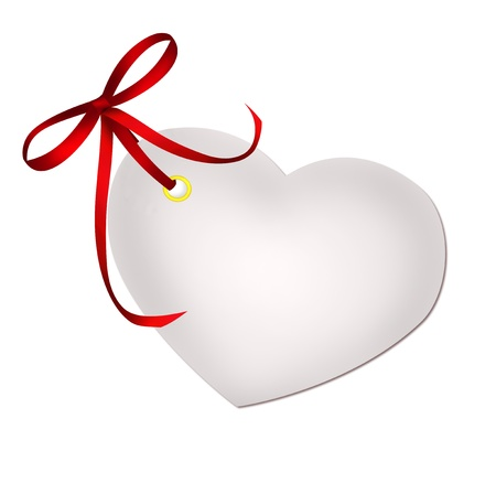 paper tags: Heart blank gift tag with red ribbon bow isolated on white background