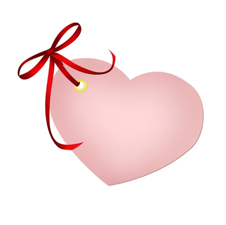 Heart pink blank with red ribbon bow isolated on white background photo