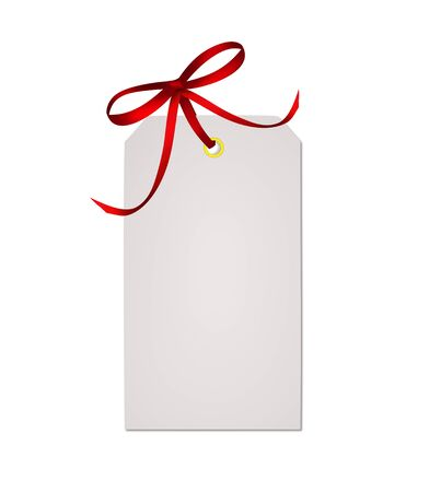 christmas tag: Card note with red ribbon bow isolated on white background