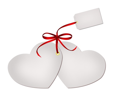 blank note: Two wedding heart cards with empty note tag with red ribbon isolated on white background