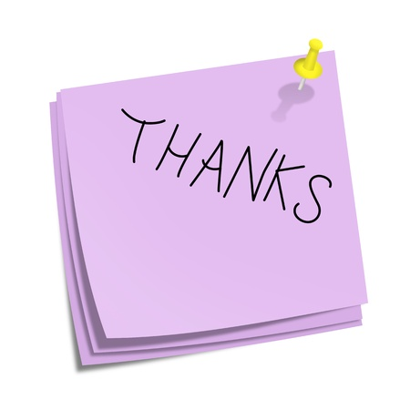 sticky notepaper: Blue stick notes with thanks text and yellow pin on white background