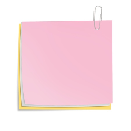 data sheet: Color sheets of paper with clip isolated  Business concept illustration