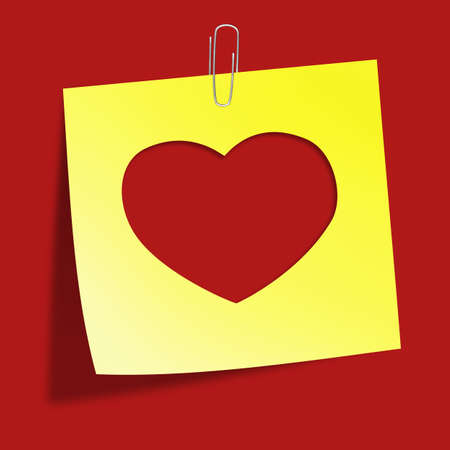 Cut heart in yellow sticker note with clip isolated on red  Illustration Stock Illustration - 17247153