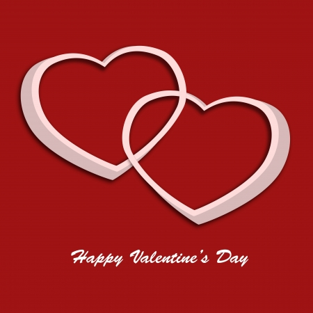 Valentine day card with two hearts on red background  Illustration illustration
