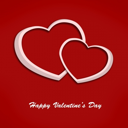 Valentine card with two hearts on red background  Illustration illustration