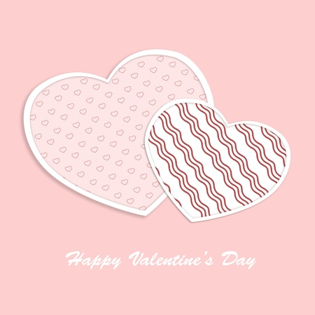 Valentine hearts card on pink background  Love concept illustratiion photo