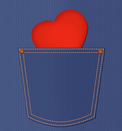 Red heart card in jeans pocket  Happy valentine day illustration Stock Illustration - 17316154