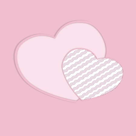 Greeting valentine card with hearts on pink background  Illustration illustration