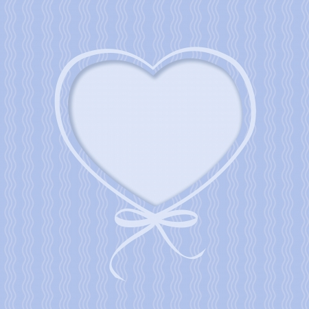 Greeting card with hearts and ribbon bow on blue background  Illustration illustration