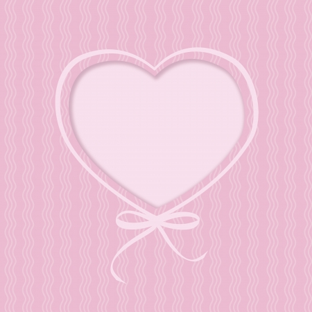 Greeting card with hearts and ribbon bow on pink background  Illustration Stock Illustration - 17316151