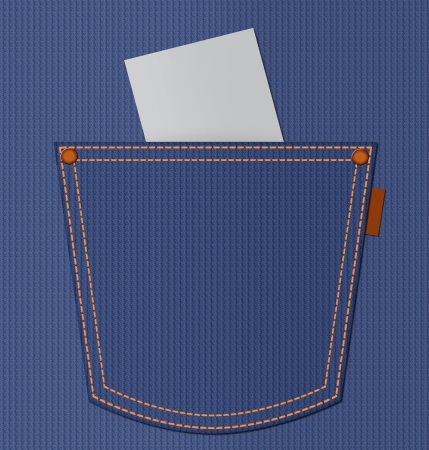 empty pocket: Blank paper in blue jeans pocket with empty space