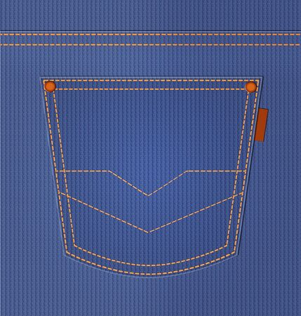Blue jeans pocket  Denim style background  Illustration