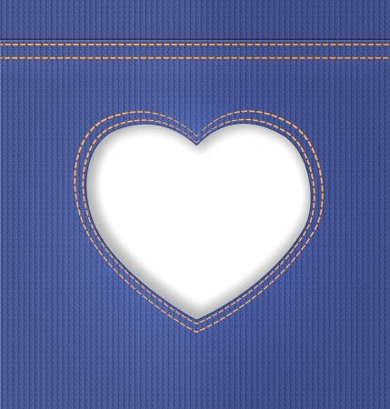 Cut heart in denim on blue jeans background  Illustration illustration