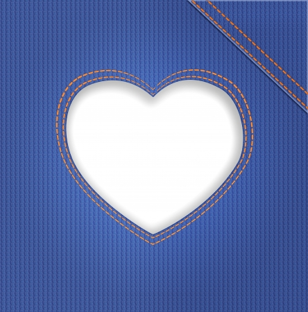 seam: Heart in denim on blue jeans background  Illustration