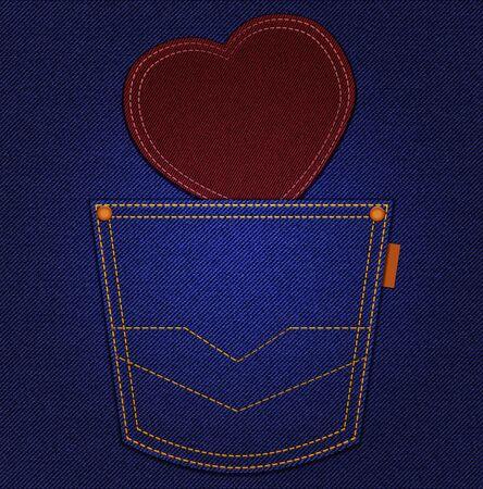 indigo: Red heart in jeans pocket on blue denim background