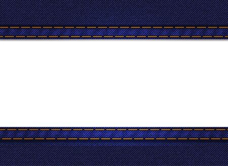 western border: Jeans frame background  Blue denim  Illustration with empty space