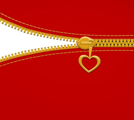 Heart zipper on red background with empty space photo
