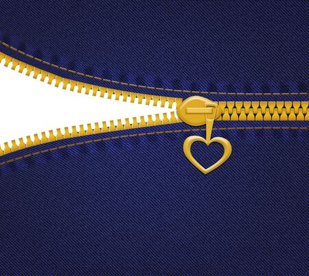 Jeans with heart zipper on blue background with empty space photo