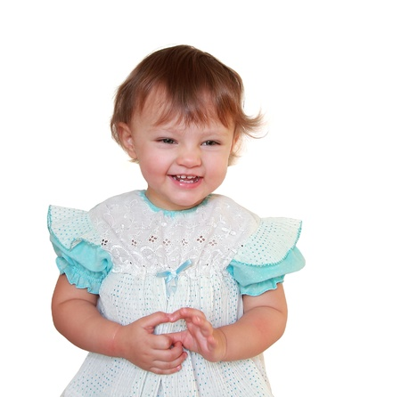 Happy laughing girl isolated on white  Closeup portrait Stock Photo - 17499884