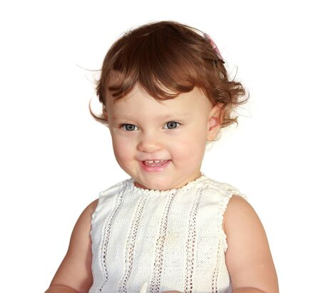 Happy smiling baby girl  Closeup isolated portrait Stock Photo - 17505883
