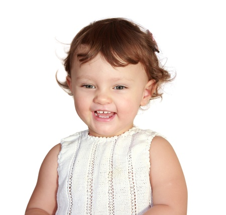 Happy laughing baby isolated on white background Stock Photo - 17505882