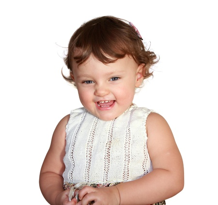 Happy baby girl laughing isolated on white background  Portrait Stock Photo - 17505881